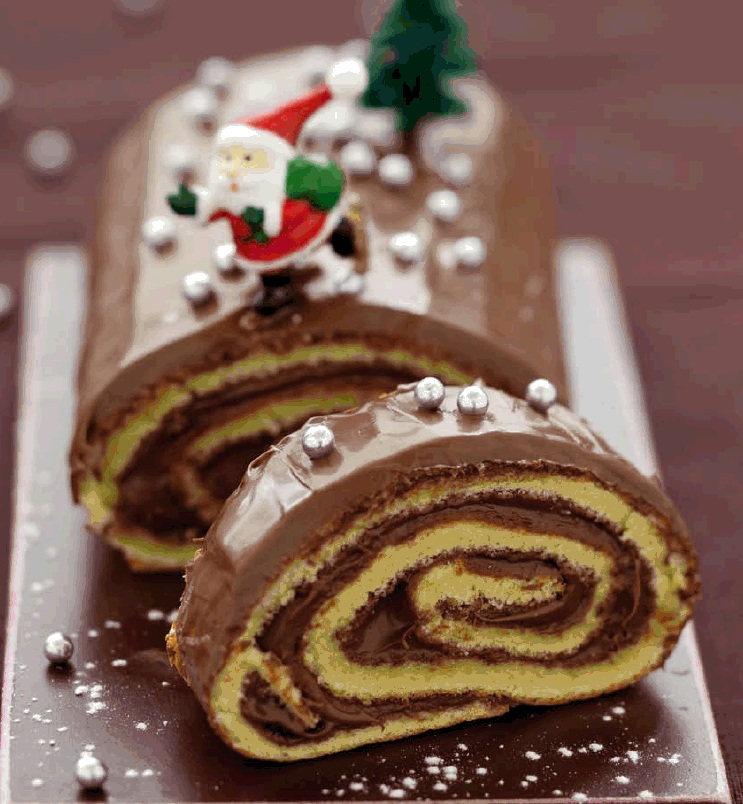 Recette b che de no l au nutella so we - Decoration pour buche de noel maison ...