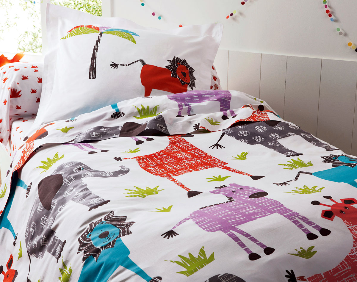 Linge de lit animaux rigolos becquet so we for Housse de couette enfants